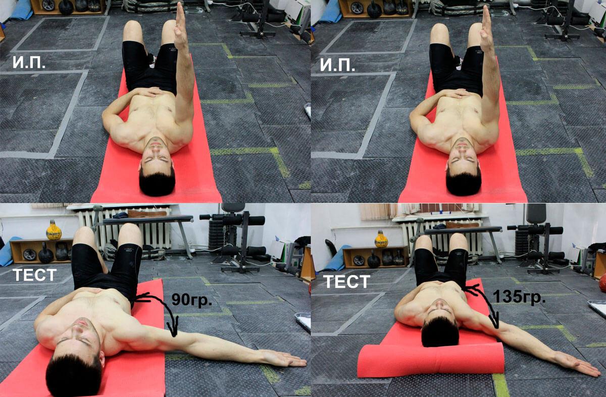 Рис. 10. Тесты на растяжимость ключичной (слева) и грудино-рёберной (справа) частей б. грудной мышцы. Пояснения в тексте